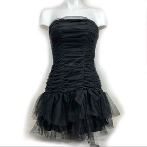 MYSTIC Black Party Dress Tulle Gathered Ruched XS